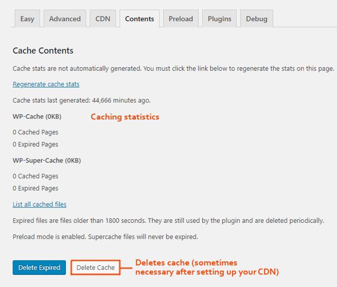 wp super cache content